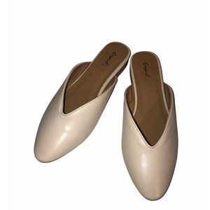 Qupid Faux Leather Mules Womens Sz 9 Slip On Nude